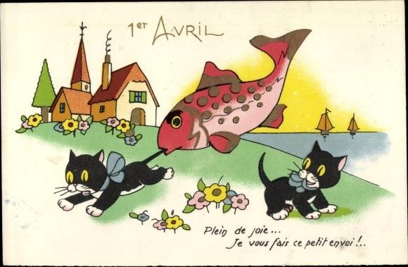 Künstler Ak 1. April, Fisch beißt schwarze Katze in den Schwanz