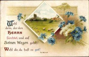 Litho Psalm 128 Lu. 2, Wohl dem, der den Herrn fürchtet, Schafe auf der Weide, Kornblumen