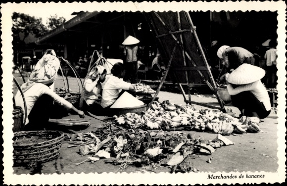 Ak Saigon Cochinchine Vietnam, Marchandes de bananes, Bananenverkäufer