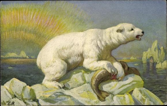 Künstler Ak Eisbär mit erlegter Robbe, Sonnenaufgang im Eismeer