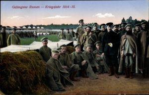 Ak Russische Kriegsgefangene im Kriegsgefangenenlager, Kriegsjahr 1914-15