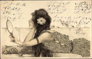 Jugendstil Künstler Litho Kirchner, Raphael, Frauenportrait, Handspiegel,Theo Stroefer Serie 99 Nr 5