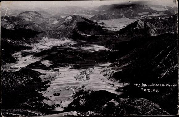 Ak Puchberg am Schneeberg in Niederösterreich, Talblick vom Schneeberg