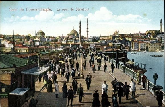 Ak Konstantinopel Istanbul Türkei, Le Pont de Stamboul, Brücke, Passanten