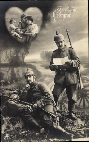 Ak Glückwunsch Ostern, Soldaten in Uniformen lesen einen Brief, Familie, Liersch 7230 5