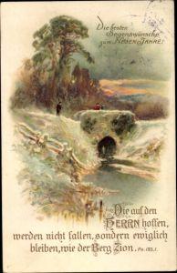 Litho Glückwunsch Neujahr, Psalm 125 1, Die auf den Herrn hoffen, werden nicht fallen