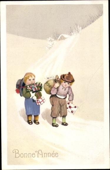 Ak Glückwunsch Neujahr, Zwei Jungen mit Geldsack, Geschenk und Blumen
