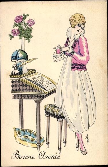 Künstler Ak Glückwunsch Neujahr, Frau am Schreibtisch, Blumenstrauß, Brief, Schreibfeder