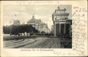 Ak Berlin Tiergarten, Brandenburger Tor, Reichstagsgebäude