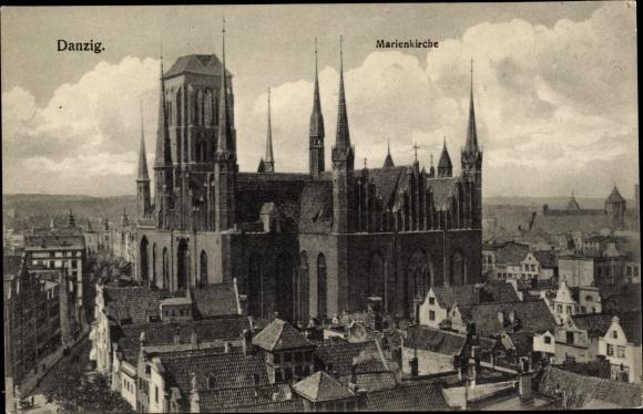 Ak Gdańsk Danzig, Marienkirche, Blick über die Dächer der Stadt