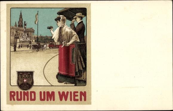 Litho Rund um Wien, Salonwagen Rundfahrten, Städtische Straßenbahnen, Paar, Wappen