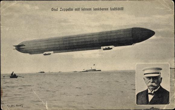 Ak Ferdinand Graf von Zeppelin mit seinem lenkbaren Luftschiff