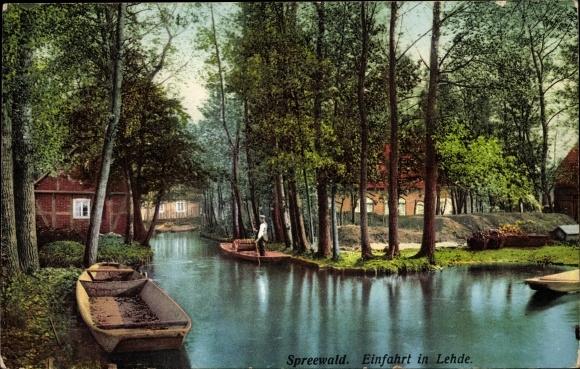 Ak Lehde Lübbenau im Spreewald, Einfahrt in die Lehde