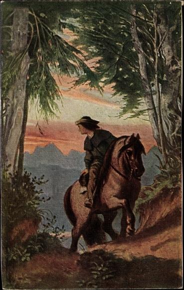 Künstler Ak Schwind, Moritz von, Abschied des Reiters, Ackermann Serie 268 Nr 2768