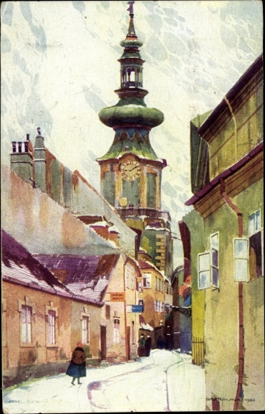 Künstler Ak Eerny, Karel, Pozsony Pressburg Bratislava Slowakei, Basteigasse, Schneelandschaft