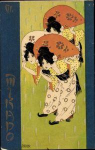 Jugendstil Künstler Litho Kirchner, Raphael, Japanerinnen, Fächer