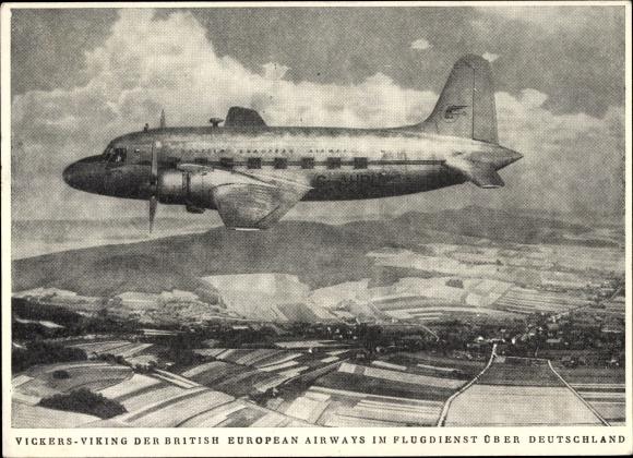 Ak Vickers Viking der British European Airways im Flugdienst über Deutschland