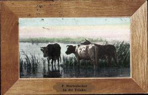 Passepartout Künstler Ak Stortenbecker, P., An der Tränke, Kühe