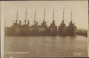 Ak Deutsche Kriegsschiffe, V. Minensuch Halbflottille