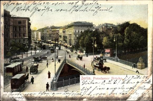 Ak Berlin Tiergarten, Potsdamer Brücke, Straßenpartie