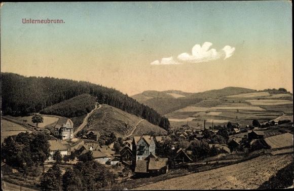 Ak Unterneubrunn Schleusegrund in Thüringen, Panorama vom Ort