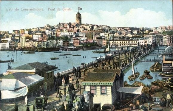 Ak Konstantinopel Istanbul Türkei, Pont de Galata, Brücke, Passanten
