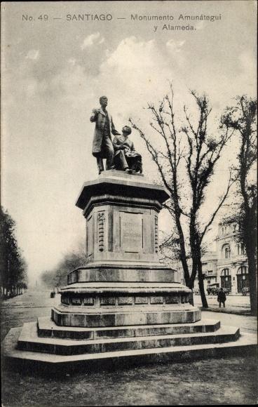 Ak Santiago de Chile, Monumento Amunátegui y Alameda