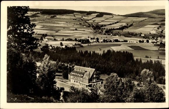 Ganzsachen Ak Deštné v Orlických horách Region Königgrätz, Panorama vom Ort
