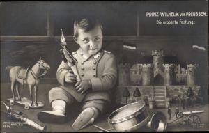 Ak Prinz Wilhelm von Preußen, Die eroberte Festung, Spielzeuge, Liersch 1874