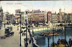 Ak Rotterdam Südholland Niederlande, Mosseltrap, Straßenpartie, Hafen, Straßenbahn, Geschäftshäuser