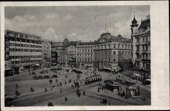 Ak Brno Brünn Südmähren, Viktoriaplatz, Namesti Viktoria, Straßenbahn, Geschäftshäuser