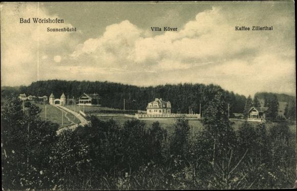 Ak Bad Wörishofen im Unterallgäu, Panorama, Villa Köver, Sonnenbüchl, Kaffee Zilelrthal