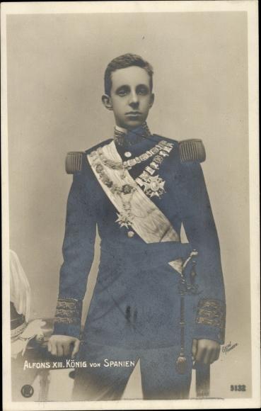 Ak König Alfons XIII. von Spanien, El Rey Alfonso XIII., Uniform, Orden, RPH 5132
