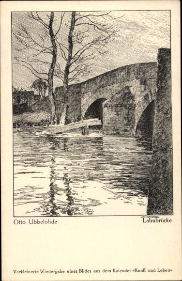 Künstler Ak Ubbelohde, Otto, Lahnbrücke, Flusspartie, Kalender Kunst und Leben