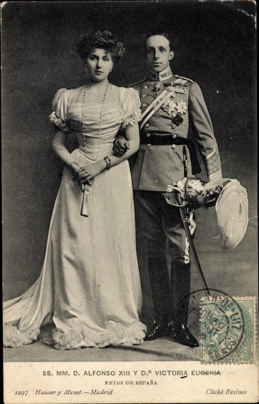 Ak König Alfons XIII. von Spanien, El Rey Alfonso XIII. de España, Victoria Eugenia
