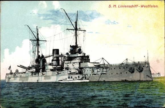 Ak Deutsches Kriegsschiff, SMS Westfalen, Linienschiff