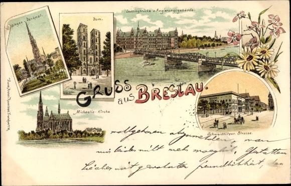 Litho Wrocław Breslau Schlesien, Siegesdenkmal, Dom, Lessingbrücke, Schweidnitzer Straße