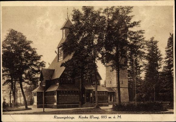 Ak Karpacz Krummhübel Riesengebirge Schlesien, Kirche Wang, Außenansicht