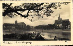 Ak Wrocław Breslau Schlesien, Sandkirche und Dom, Inselufer