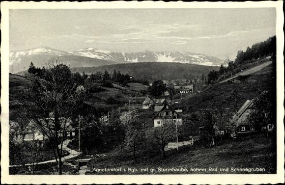 Ak Jagniątków Agnetendorf Hirschberg Riesengebirge Schlesien, Sturmhaube, hohes Rad, Schneegruben