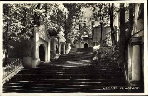 Ak Wambierzyce Albendorf Schlesien, Kalvarienberg, Aufgang