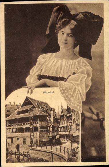 Ak Strasbourg Straßburg Elsass Bas Rhin, Pflanzbad, Frau mit Tracht