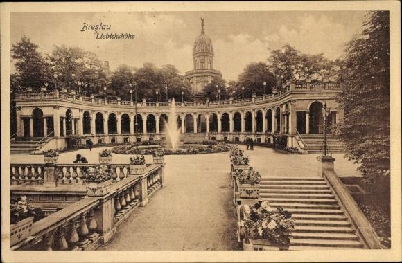 Ak Wrocław Breslau Schlesien, Liebichshöhe, Arkadengang, Fontäne