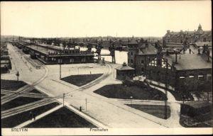Ak Szczecin Stettin Pommern, Freihafen, Eisenbahnnetz