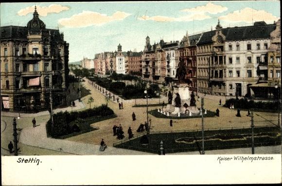Ak Szczecin Stettin Pommern, Kaiser Wilhelmstraße, Kaiser Wilhelm Denkmal, Häuserfassaden