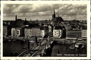 Ak Szczecin Stettin Pommern, Hansabrücke mit Stadtbild