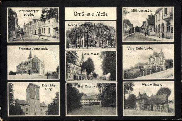 Ak Melle in Niedersachsen, Plettenberger Straße, Präparandenanstalt, Villa Unbefunde, Mühlenstraße