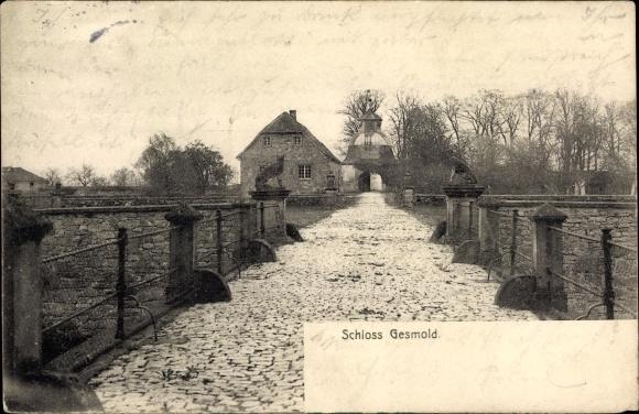 Ak Gesmold Melle in Niedersachsen, Schloss Gesmold, Brückenpartie