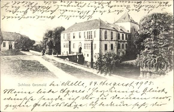 Ak Gesmold Melle in Niedersachsen, Schloss, Außenansicht, Uferpartie