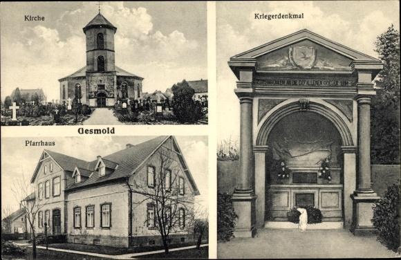 Ak Gesmold Melle in Niedersachsen, Kirche, Pfarrhaus, Kriegerdenkmal